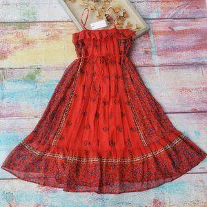 NWT Endless Rose Chili Border Chiffon Midi Dress M